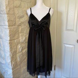 Limited Black Satin & Chiffon Chemise Dress Size 6